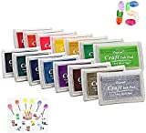 Juegos de Almohadillas de Tinta Gradient Ramp Juegos de Almohadillas de Tinta 15 Tinta con Alcohol de Colores a Base de Agua Almohadilla de Tinta para Huellas Dactilares para Tela Artesanal