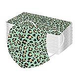 YpingLonk 10/50pc Unisex Adulto Leopard Bufanda Moda Universal 3 Capa Impreso Lindo elástico Earloop Bufanda para Mujeres Hombres -21124-16