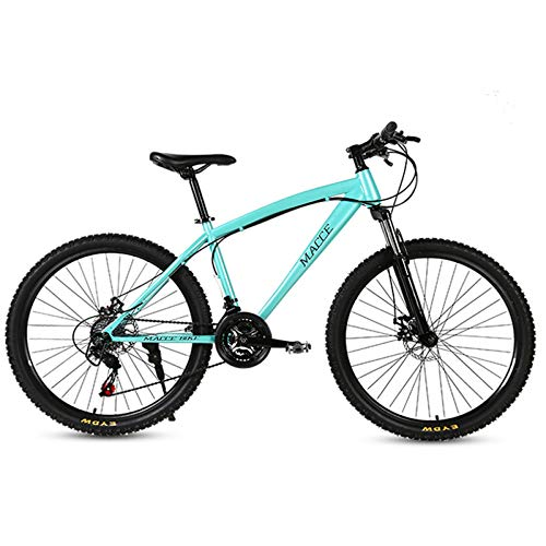 jooe Mountain Bike 24 Pollici Adulti Doppio Freno A Disco Uomini Donne 21 Bicicletta Studente velocità Variabile con Ruote A Raggi,Blue