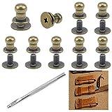 SRunDe 60 set di 60 bottoni a testa tonda con foro in bronzo rivetti in metallo viti a cro...