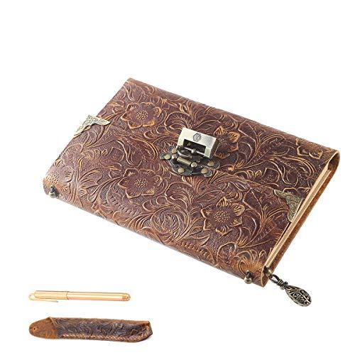 Scrodcat Ledertagebuch Notizbuch handgefertigt ledergebunden für Männer und Frauen mit Blanko-Seiten Reisetagebuch Schloss (Brown, 19x14cm with Gift Box & Pen)