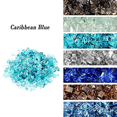 """Skyflame High Luster 10-Pound Regular Fire Glass for Fire Pit Fireplace Landscaping Garden Caribbean Blue 1/4"""" Size"""