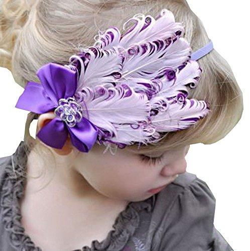 Superbe bébé fille Serre-tête mignon plumes Apparel accessoire Violet (1 ~ 4Y)