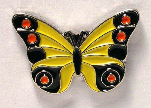 Mainly Metal Broche, Broche métal émaillé, Noir, Rouge, Jaune, Motif : Papillon
