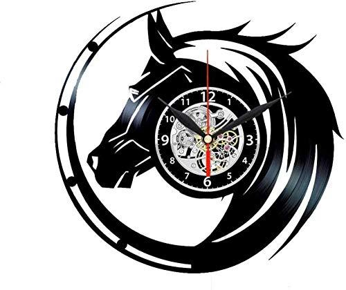 KDBWYC Reloj de Pared de Vinilo Reloj de Pared de Caballo Arte Decoración de cumpleaños Decoración de habitación de Navidad Regalo para Mujer