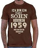 Hariz – Camiseta para hombre, diseño con texto en alemán 'Ich Bin ein Sohn Geboren 1959 y un verdadero punto de atracción, 60 cumpleaños Plus tarjetas de regalo marrón XXL