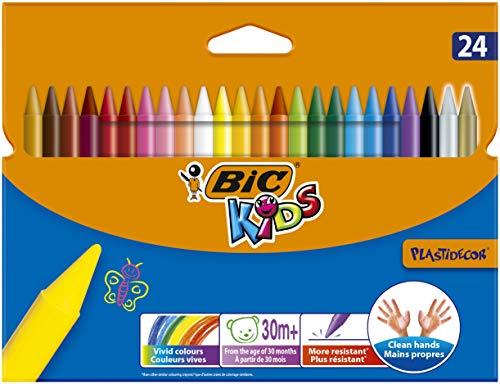 BIC Kids Pastelli Colorati, Plastidecor, Colori per Bambini a Casa e a Scuola, Colori Assortiti, Astuccio Scuola, Confezione da 24 Unità