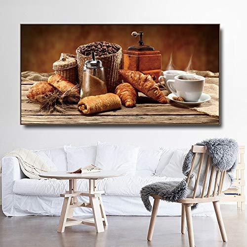 Frameloze schilderij Voedsel stilleven keuken olieverf en kalligrafie poster afdrukken woonkamer familie wanddecoratie artZGQ2792 60X120cm