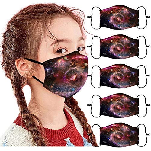 Eaylis 5 Stück Kinder Face Mask Einweg 3-lagig Atmungsaktiv Face Cover, Radfahren, Outdoor Anti-Staub Bandana Loop Cartoon Druck Face Halstuch für Jungen und Mädchen für Laufen