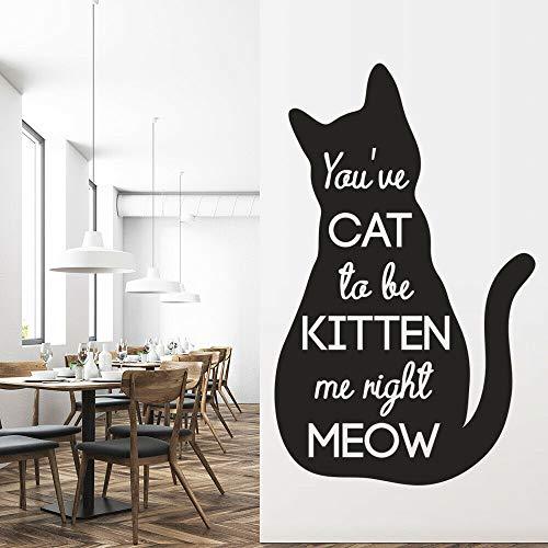 Calcomanía de pared de silueta de gato gato esperando gatito texto vinilo pegatina de ventana dormitorio de niños tienda de mascotas decoración de interiores