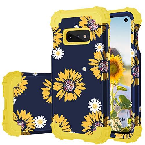 Fingic Galaxy S10e Case, Samsung S10e Case Sunflower 3 in 1 Heavy Duty Protection Hybrid Hard PC Soft Silicone Rugged Bumper Anti Slip Full-Body Shockproof Protective Case for Samsung S10e 5.8' 2019