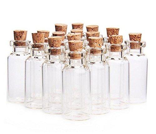 Ericotry - Botes de cristal con tapones de corcho para guardar mensajes de boda y fiestas, 24 unidades, 10 ml