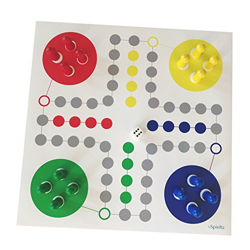 Raus Hier! Riesen-Ludo, großer Spielplan + große Spielfiguren (Größe L, Farbe Rot-Gelb-Blau-Grün). Brettspiel für Senioren, Schulen + Kindergärten, Großformat-Spiel für Veranstaltungen