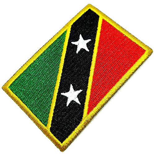 BP0220T 01 BR44 Aufnäher mit Saint Kitts & Nevis Flagge, bestickt, zum Aufbügeln oder Nähen