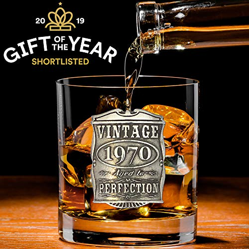 Image of the English Pewter Company Vintage Years 1970 50th Birthday or Anniversary Old Fashioned Whisky Rocks Glass Tumbler - Unique Gift Idea For Men [VIN003]