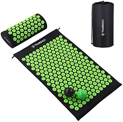 TOMSHOO Acupressure Set, Acupressure Mat and Pillow with 2pcs Massage Balls- Pain Relief Therapy...