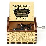 Caja musical tallada antigua de madera con manivela 3D impresa a mano, caja de música de amigos, caja de música de cumpleaños, 1 unidad melodiosa (color: P Friends 47)