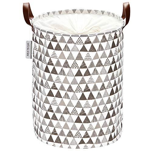 Sea Team Triangle Pattern Wäschekorb Leinwand Stoff Wäschekorb Faltbarer Vorratsbehälter mit PU-Ledergriffen und Kordelzugverschluss, 19,7 x 15,7 Zoll, wasserdicht innen, grau