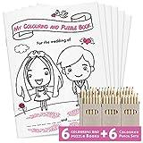 Confezione da 6 libri da colorare per bambini, con 28 pagine da colorare e puzzle con cura, set di 6 libri da colorare DINA5 + 6 set di matite coloranti, pacchetti attività per bambini