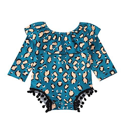 Beudylihy Pelele para bebé con estampado de leopardo, de lino, con mariposas, con mangas azul 0-3 Meses