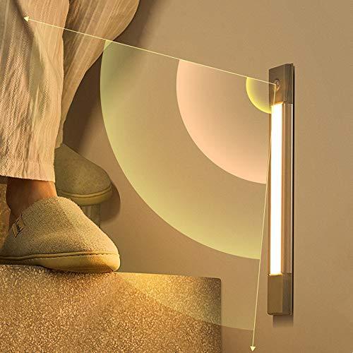 30/40 cm LED bajo la luz del gabinete PIR sensor de movimiento USB lámpara de pared de carga inalámbrica ultra fina aluminio dormitorio luces de noche (color: 30 cm)