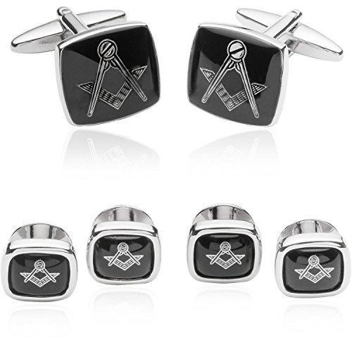 Mens Masonic Freemason Formal Cufflinks and Studs Set Silver with Travel Presentation Box Wedding Groomsmen