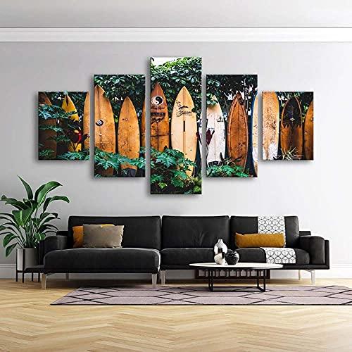 5 Piezas Cuadro sobre Lienzo Imagen Tablas de Surf Surfer Beach House Impresión Pinturas Murales Decor Dibujo con Marco Oficina Aniversario Regalo Carteles Listo para Colgar 150 * 80cm