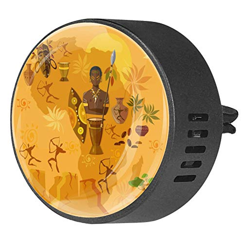 Josid 2PCS Africa Map African Tribes Culture Car Accessories Car Air Freshener Aromatherapy Diffuser Car Vent Clip Gift Decorations 40mm