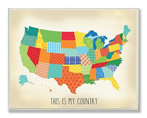 La chambre d'enfant par Stupell This is My Country matelassé rectangulaire plaque murale