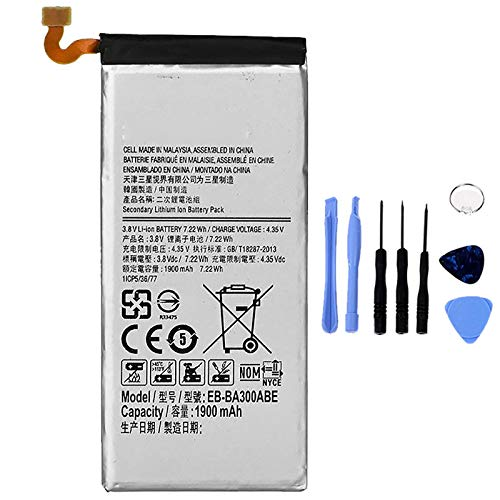 Ellenne Batería compatible con Samsung A3 2015 A300 EB-BA300ABE de alta capacidad 1900 mAh con kit de desmontaje incluido