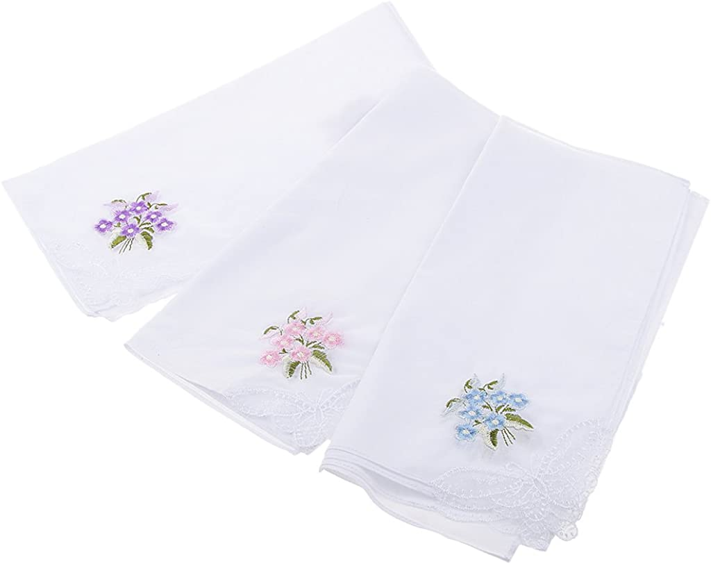 MagiDeal Pack of 12 Flower Embroidery Cotton Handkerchiefs Comfy Pocket Hanky for Women White