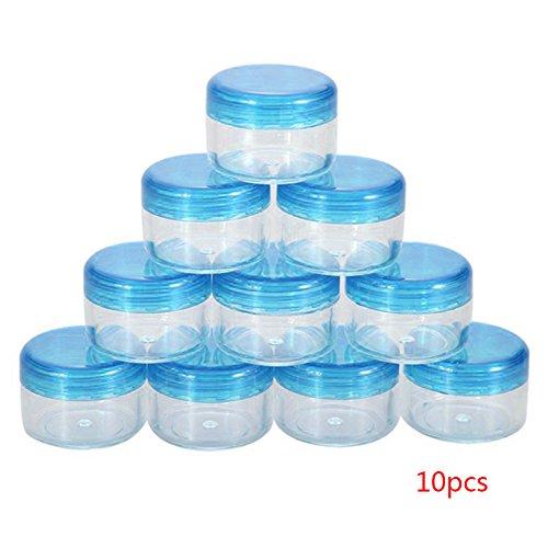 Sdkmah9 10 pcs échantillon de Cosmétique de Stockage de conteneurs vides en Plastique Neuf Couvercle pour Maquillage Fard à paupières crème Baume à lèvres lotions, Bleu, Taille Unique