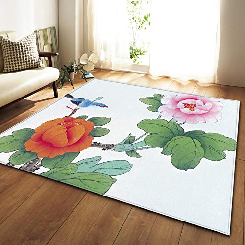 QWFDAQ alfombras Baratas Pájaro Floral Rosa Verde Blanco alfombras 80 x 160...