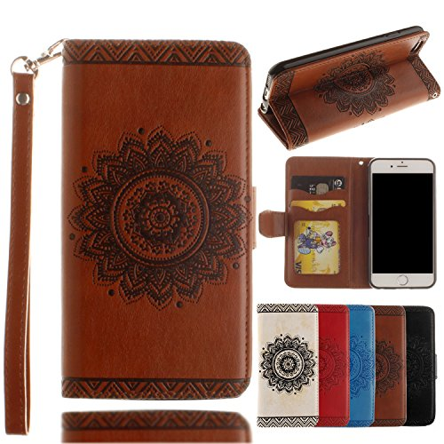 Black Deals Friday Deals Sales-for iPhone 7 Wallet Case,Valentoria Mandragora Flower Premium Vintage Emboss Leather Wallet Pouch Case with Wrist Strap for iPhone 7 4.7inch (Brown)