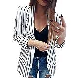 Yazidan Frauen Mantel Damen Viertel Langarm Kimono Gestreift Bluse Stilvoll Staubwedel Blazer Elegant Jacke Formal Sweatshirt Sexy Überzieher Herbst Outfits Mode Startseite Kleidung(Weiß,L)