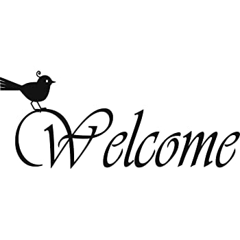 Best Selling Cling Transfer Welcome Letters with Bird Text Wall Sticker Birds Birdie Home Homes House Entrance Size Prices Reduced Top Selling Decals 5 Inches X 12 Inches