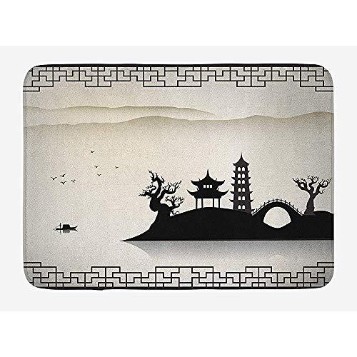 Ruan-Shop Alte China-Badematte, trostloses Skizzen-Haus auf Hügel-Pagoden-Pavillon-Brücke trocknete Baum-Fischer Doormats Black Beige