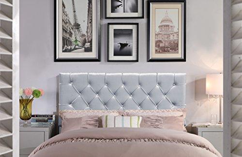 Iconic Home Helena Headboard Velvet Upholstered Diamond Button Tufted, Modern Transitional, King, Silver