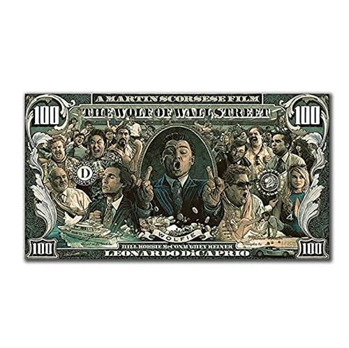 MXIBUN Pop Art Wolf der Wall Street Graffiti Street Art Geld 100 Dollar Wandkunst Leinwand Malerei Poster und Drucke für Wohnzimmer Wohnkultur-60x100 cm x1 Kein Rahmen