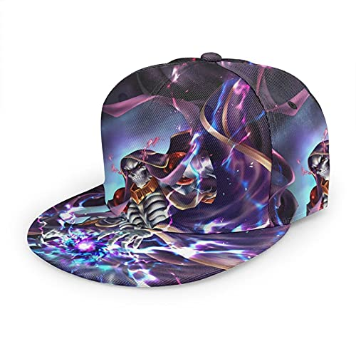 961 Overlord Baseball Cap, Solid Flat Bill Adjustable Snapback Hats Unisex, Perfect for Outdoor Activities Black