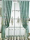 Lactraum Cortina para salón bordada, arreglo floral, opaca, con cinta fruncida,...