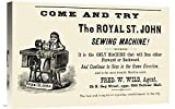 Global Gallery Budget GCS-374972-22-142 Unknown The Royal St. John Sewing Machine Gallery Wrap Giclee on Canvas Wall Art Print