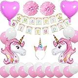 Cebelle Unicornio Fiesta cumpleaños Decoraciones Suministros, Unicorn Horn Diadema, Happy...