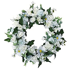 Lazeny Artificial Wreath Front Door Wreath 17 Inch Flower Wreath Ornaments Spring Summer Garland Green Leaves for Outdoor Indoor Home Bedroom Wall Window Valentine Mother Day Decor (White Gardenia)