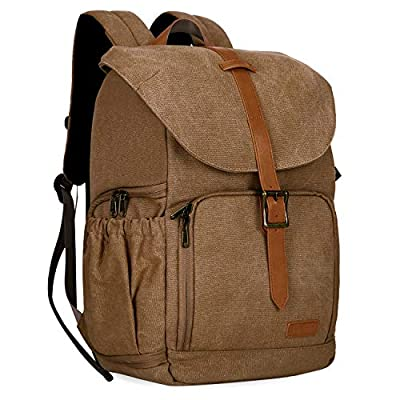 """BAGSMART Camera Backpack, Water Resistant DSLR Camera Bag Canvas Bag Fit up to 15"""" Laptop with Rain Cover, Tripod Holder for Women and Men (Khaki-1)"""