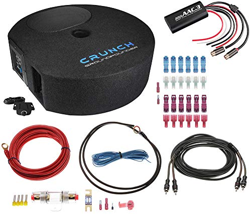 Crunch GP690 Reserverad Subwoofer 150 Watt RMS - Komplettpaket mit High Low Adapter, Vollkupfer Kabel, Abgreifset, 5 Meter Cinchkabel - Aktiver Reserverad Subwoofer 15 x 23 cm