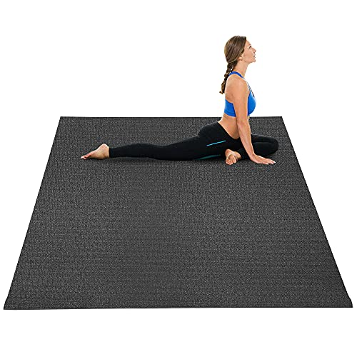 HYD-Parts Large Exercise Mat for Home Gym Workout 8'x5'x7mm Non-Slip Thick, High Density Rubber Mats Gym Flooring Yoga Mat Durable for Cardio Fitness(Black)