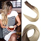Fshine Seamless Tape In Ombre Hair Extensions 16 Inch Glue In Hair Extensions Color 6B Fading To 613 Full Head Remy Premium Hair Extensions 50 Grams 20 Pcs Seamless Well Blend Hair