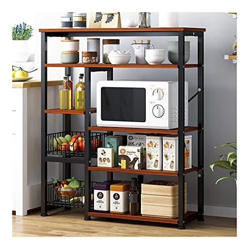 Estante de cocina de acero inoxidable, estantes verticales, estantería de almacenamiento de metal, estantería de horno, estante de almacenamiento de vajilla multicapa en el suelo moderno 5 marrón