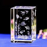 Decoración de la Estatua Sala de Estar Modelo de Cubo de Cristal Regalo Accesorios para el hogar Adorno de Estatua Tallas Interiores de Cristal Adornos de Cristal de Acuario Seaworld